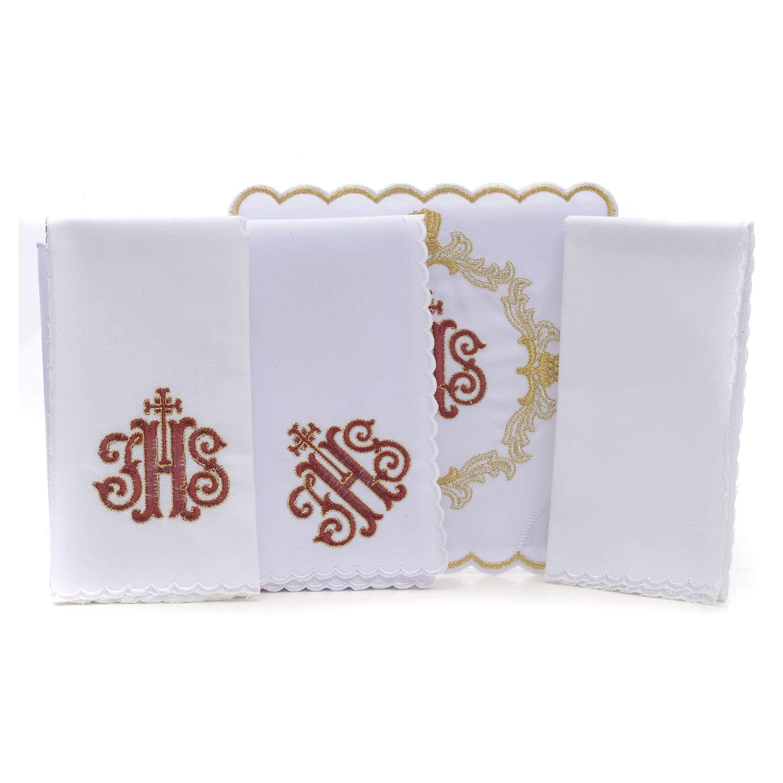 Altar linens, set of 4, 100% linen, blue Marian symbol 4
