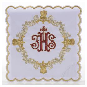 Altar linens, set of 4, 100% linen, blue Marian symbol s4