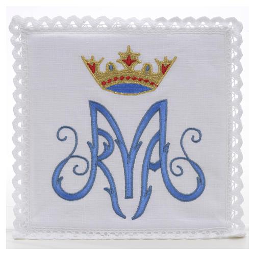 Altar linens, set of 4, 100% linen, blue Marian symbol 1