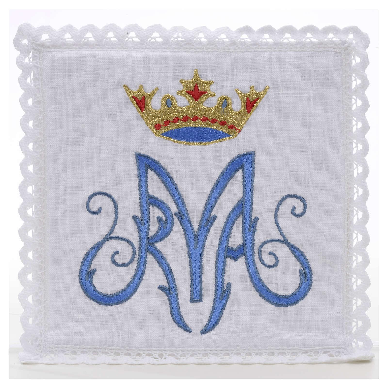 Servizio da mensa 100% lino simbolo mariano blu 4