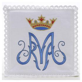Bielizna kielichowa 100% len symbol maryjny niebieski s1