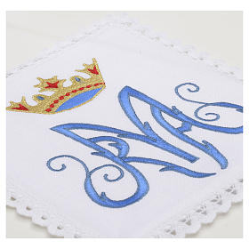 Altar linens, set of 4, 100% linen, blue Marian symbol s3