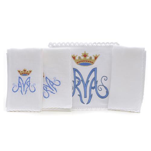 Altar linens, set of 4, 100% linen, blue Marian symbol 2
