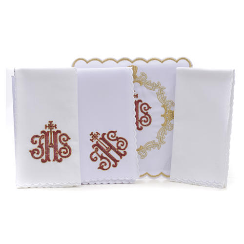 Altar linens, set of 4, 100% linen, blue Marian symbol 5