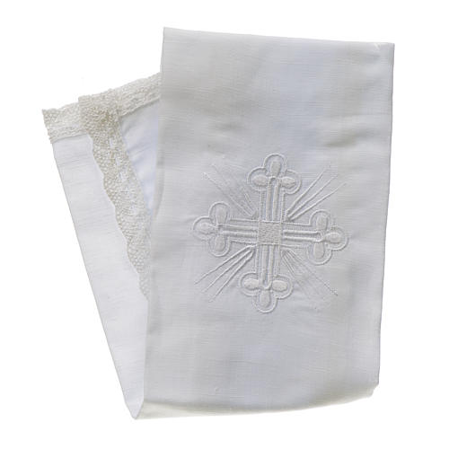 Altar linens, Purificator in linen and polyester 1