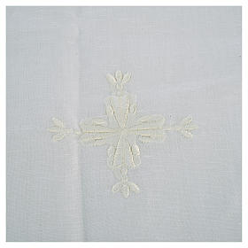 Altar linens, Corporal in linen and cotton, cross embroidery, 2 s2