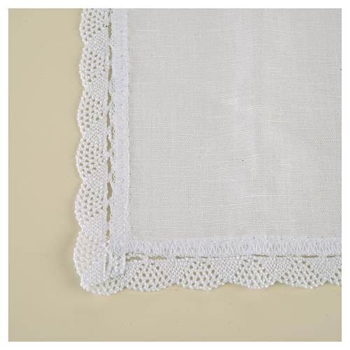Altar linens, Corporal in linen and cotton, cross embroidery, 2 3