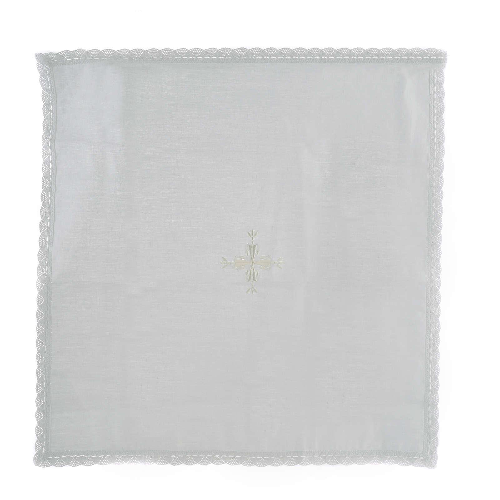 Corporal lino y algodón cruz bordada 2 piezas 4
