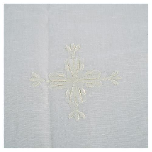 Corporal lino y algodón cruz bordada 2 piezas 2