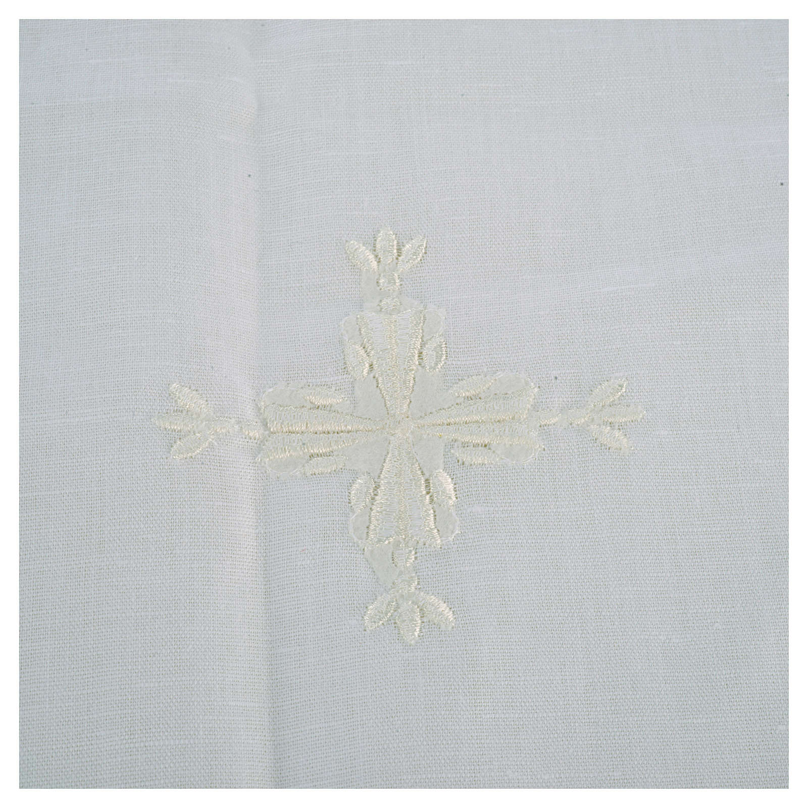 Altar linens, Corporal in linen and cotton, cross embroidery, 2 pcs 4