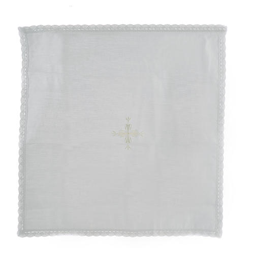 Altar linens, Corporal in linen and cotton, cross embroidery, 2 pcs 1