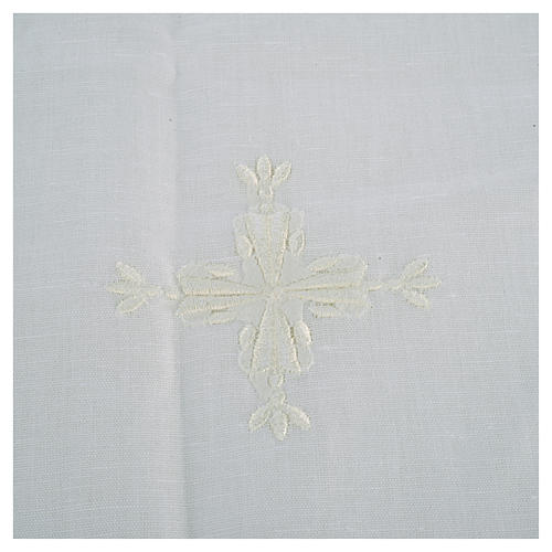 Altar linens, Corporal in linen and cotton, cross embroidery, 2 pcs 2