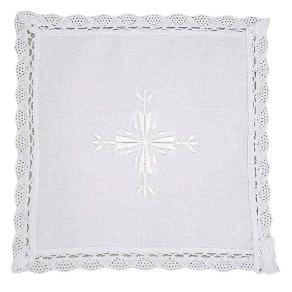 Altar linens, Pall in linen and cotton, cross embroidery, 2 piec 4