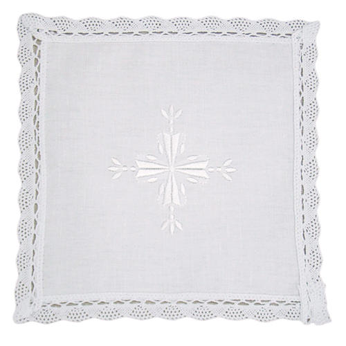 Altar linens, Pall in linen and cotton, cross embroidery, 2 piec 1