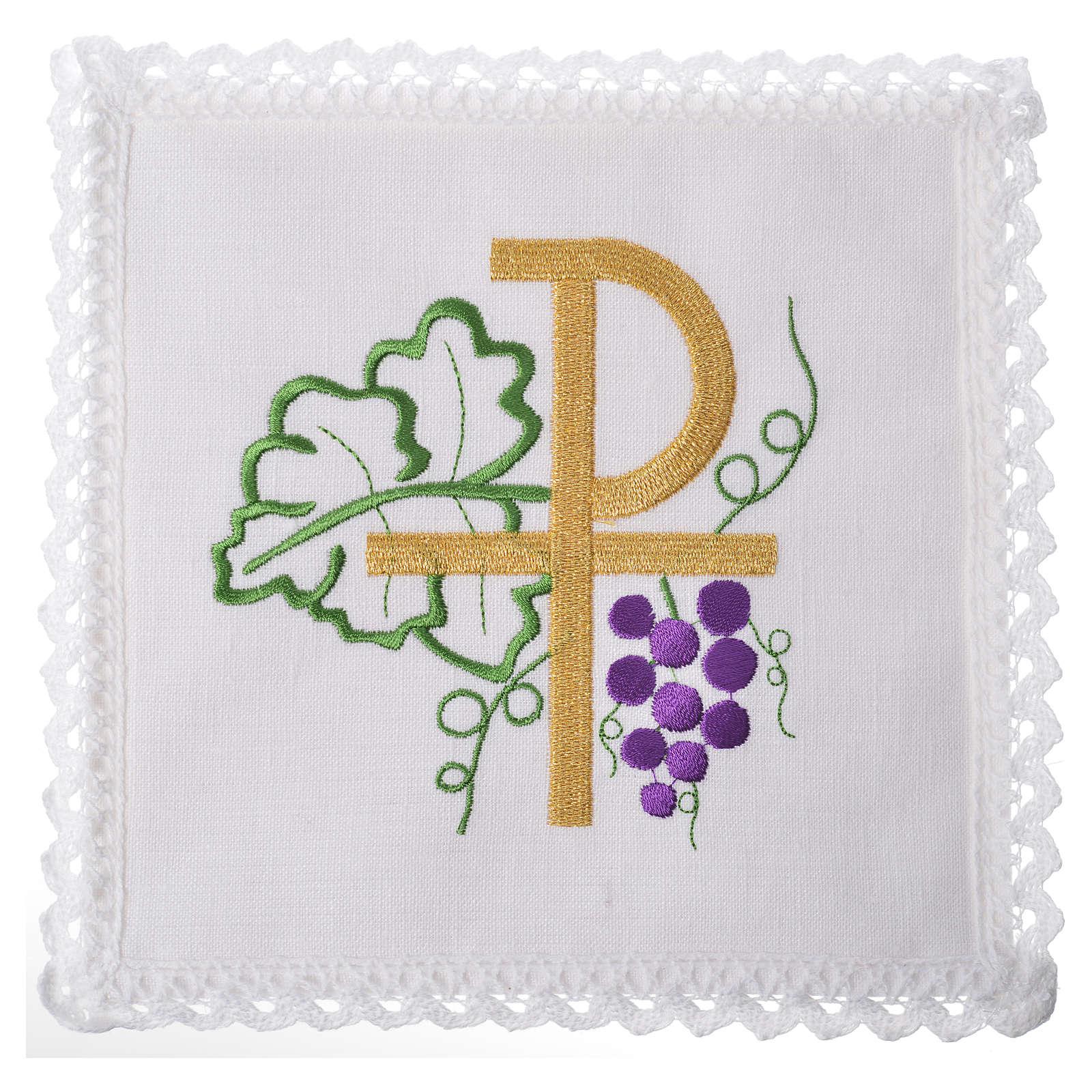 Linge d'autel Chi-Ro et raisin 100% lin 4