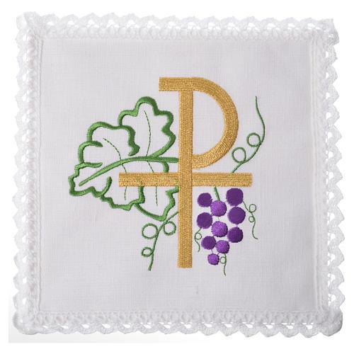 Linge d'autel Chi-Ro et raisin 100% lin 1