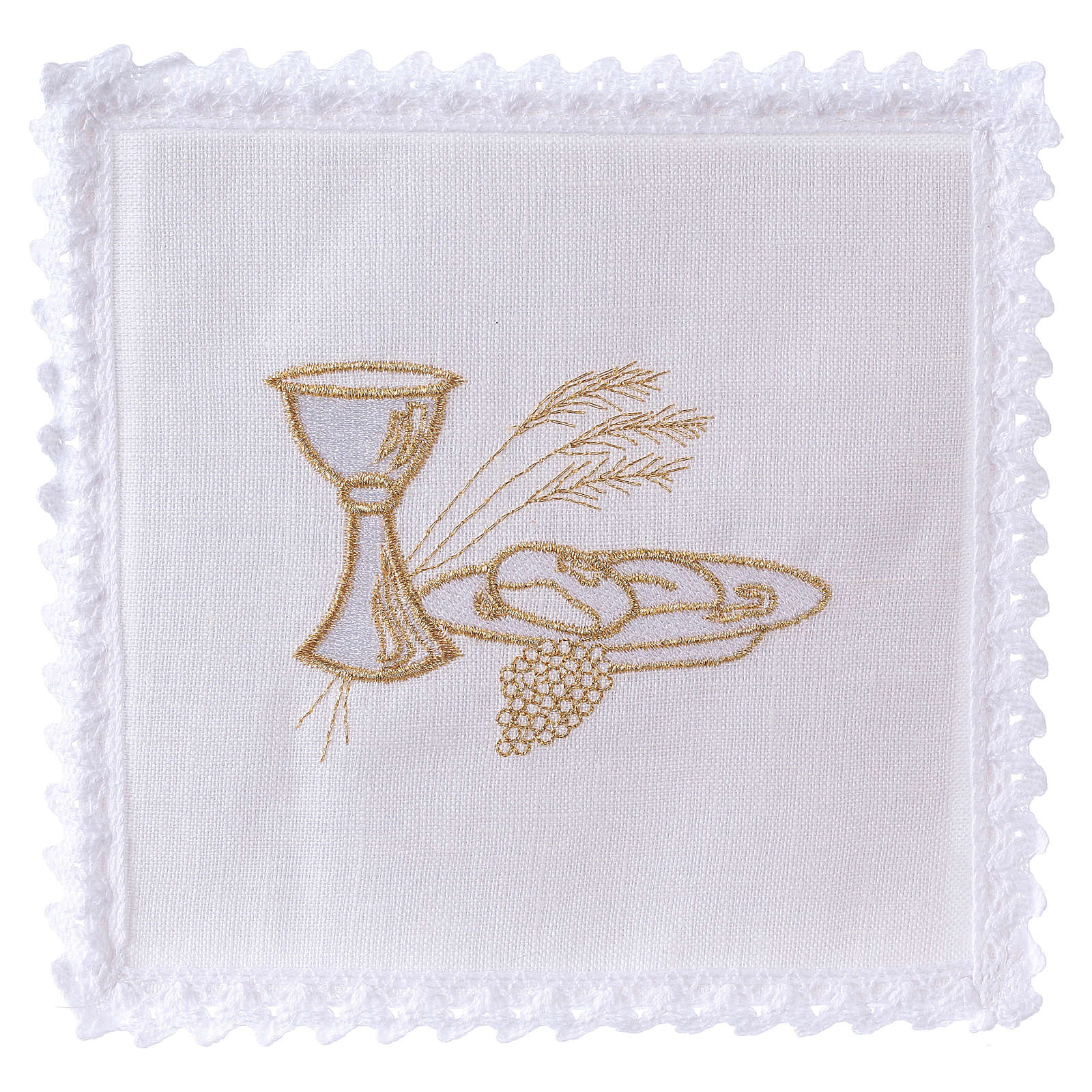 Altar linens set, 100% linen with chalice, loaf and wheat symbols 4