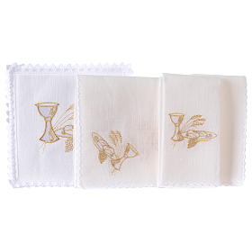 Altar linens set, 100% linen with chalice, loaf and wheat symbols s2