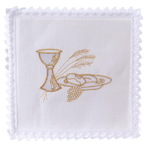 Altar linens set, 100% linen with chalice, loaf and wheat symbols 1