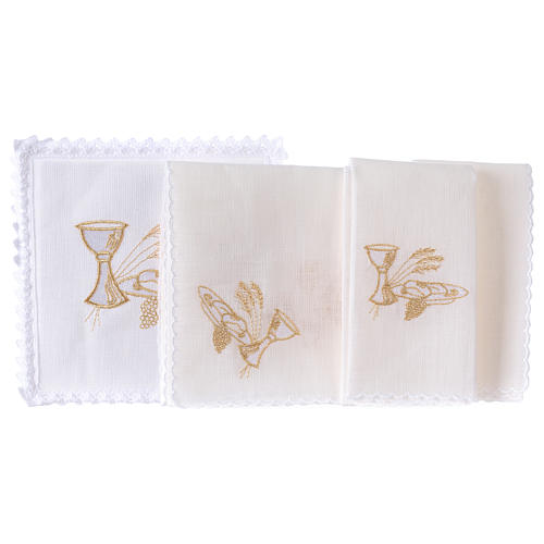 Altar linens set, 100% linen with chalice, loaf and wheat symbols 2