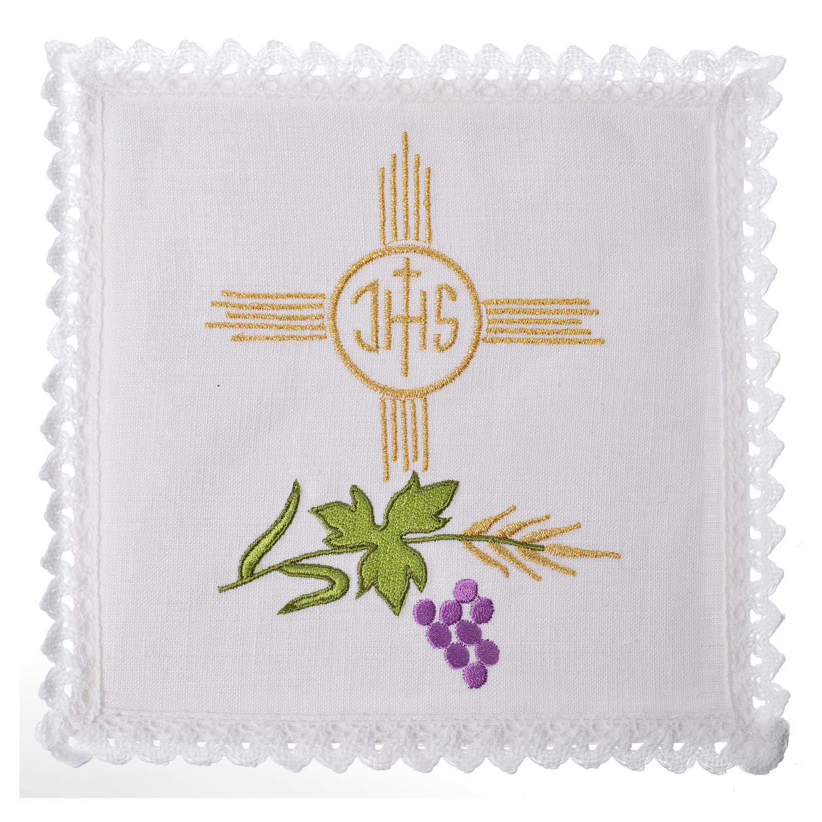 Altar cloth set, 100% linen, IHS and grapes 4