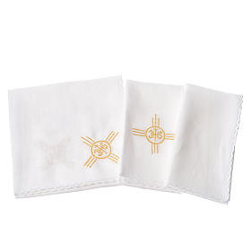 Altar cloth set, 100% linen, IHS and grapes s2