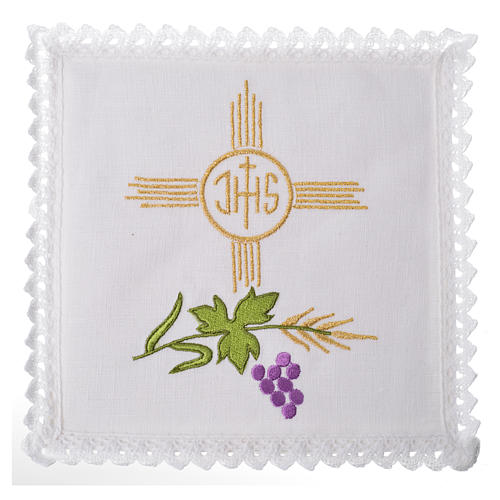 Altar cloth set, 100% linen, IHS and grapes 1