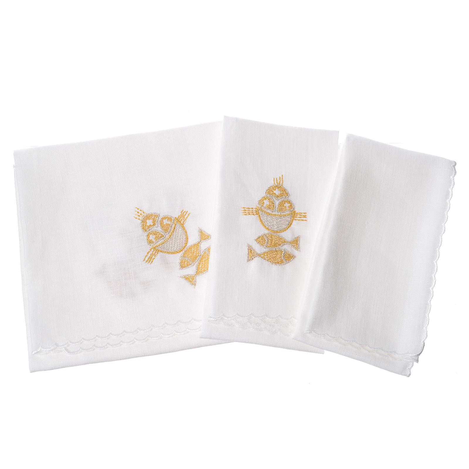 Altar linens set, 100% linen, fish and loaves 4