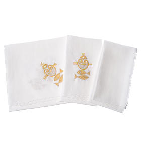 Altar linens set, 100% linen, fish and loaves s2