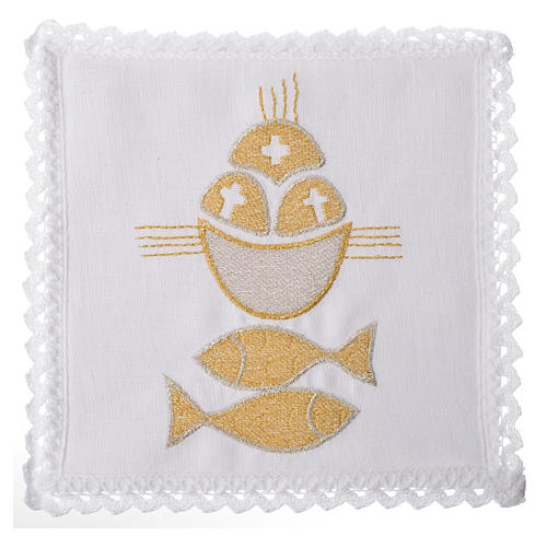 Altar linens set, 100% linen, fish and loaves 1