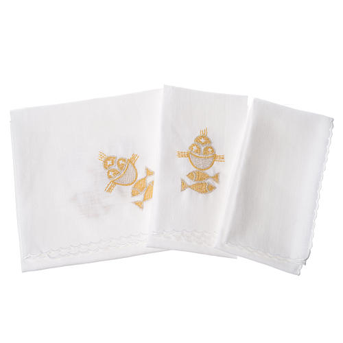 Altar linens set, 100% linen, fish and loaves 2