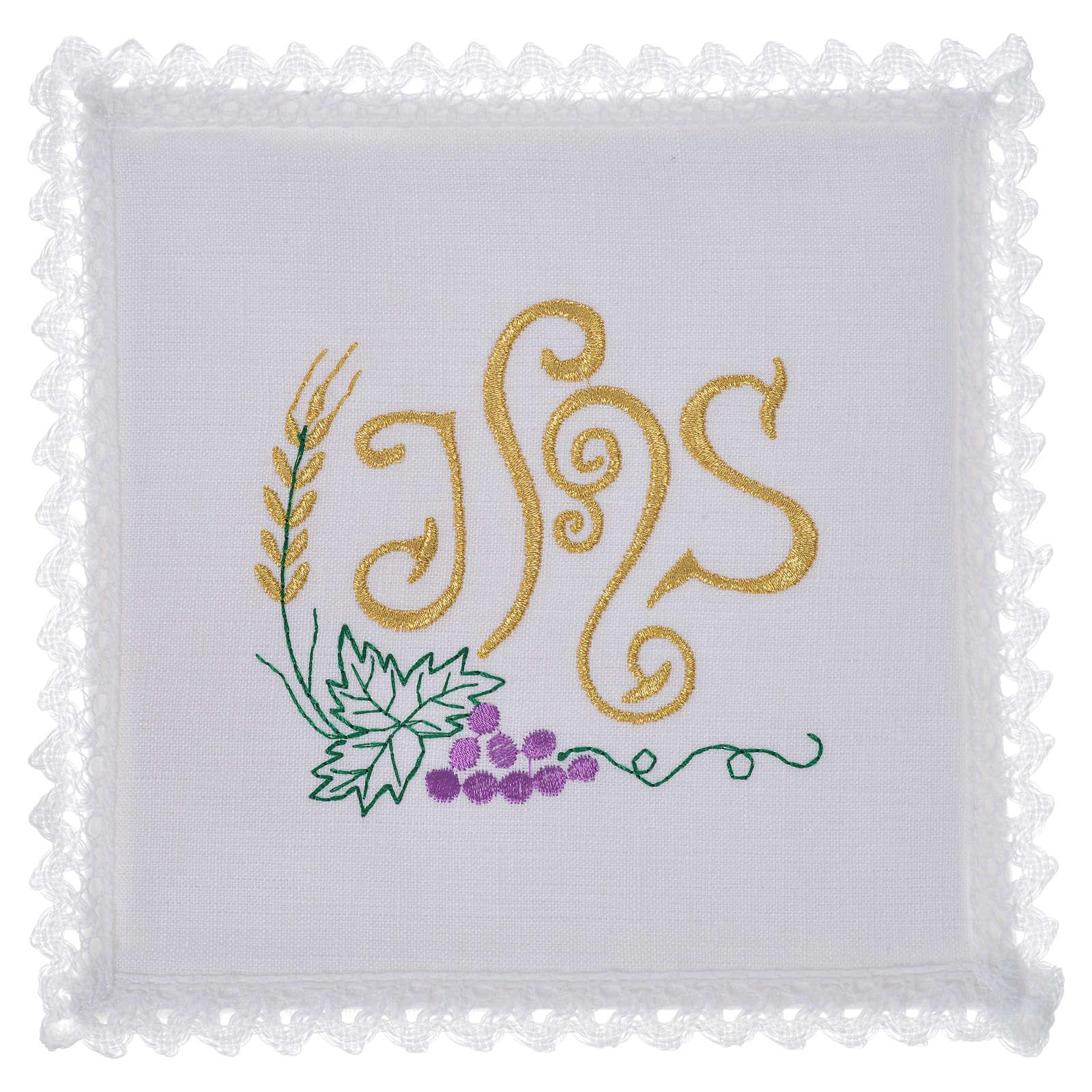 Linge d'autel symbole IHS raisin lin 4