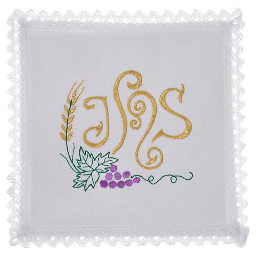 Linge d'autel symbole IHS raisin lin 1