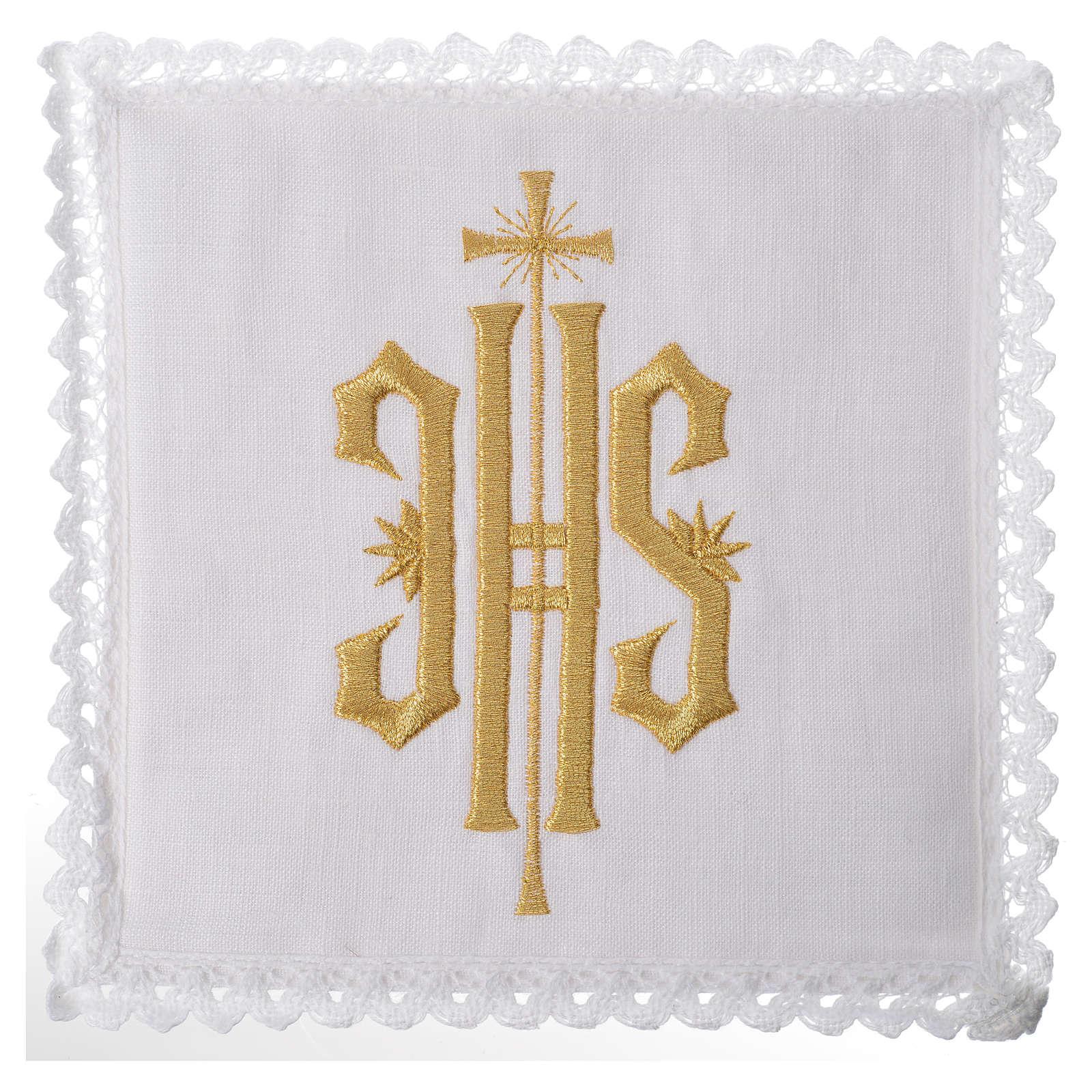 Set linge d'autel IHS doré 100% lin 4