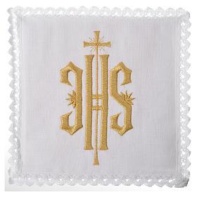 Set linge d'autel IHS doré 100% lin s1