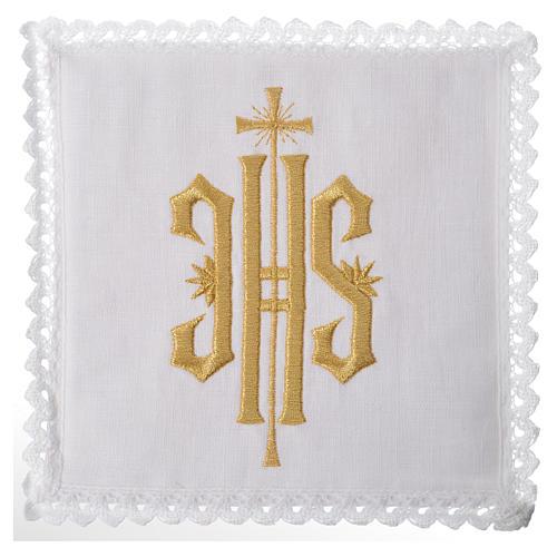 Set linge d'autel IHS doré 100% lin 1