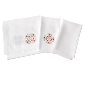 Altar linens set, 100% linen, cross and decorations s2