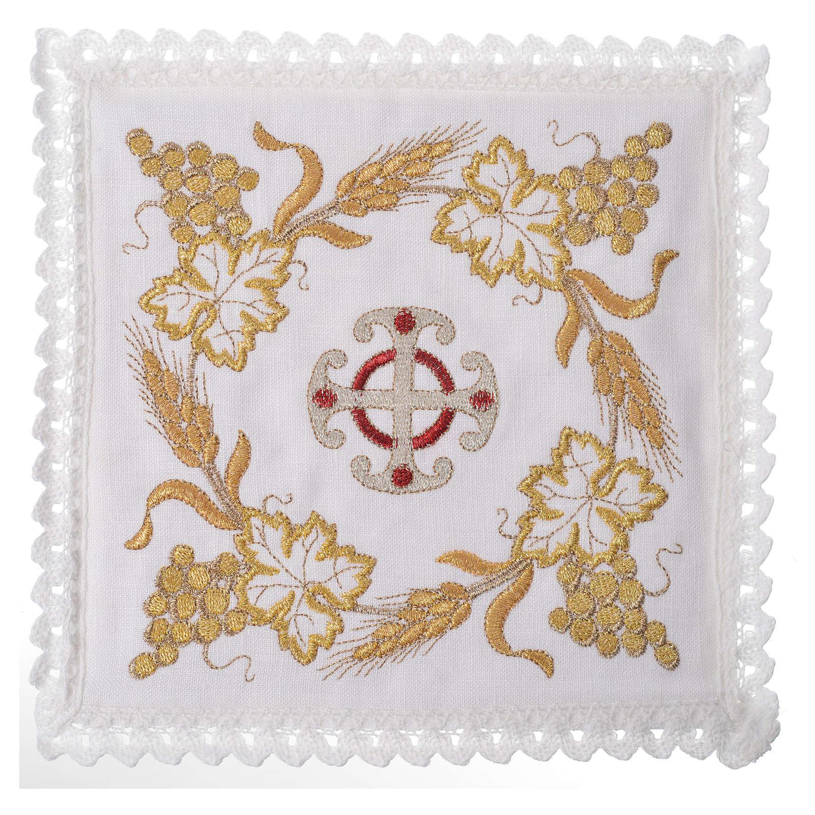 Set linge d'autel croix et décoration 100% lin 4