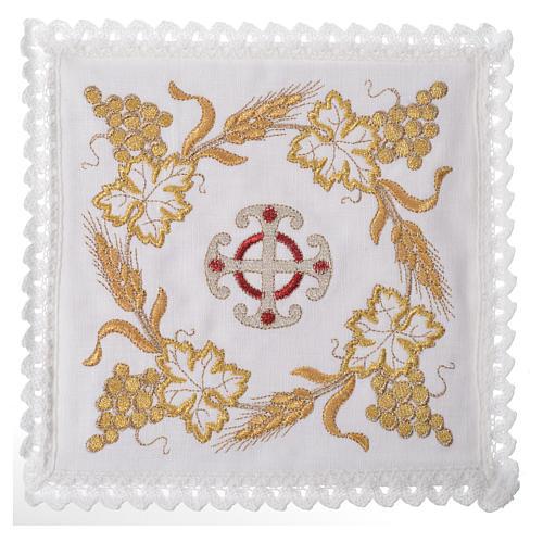 Set linge d'autel croix et décoration 100% lin 1