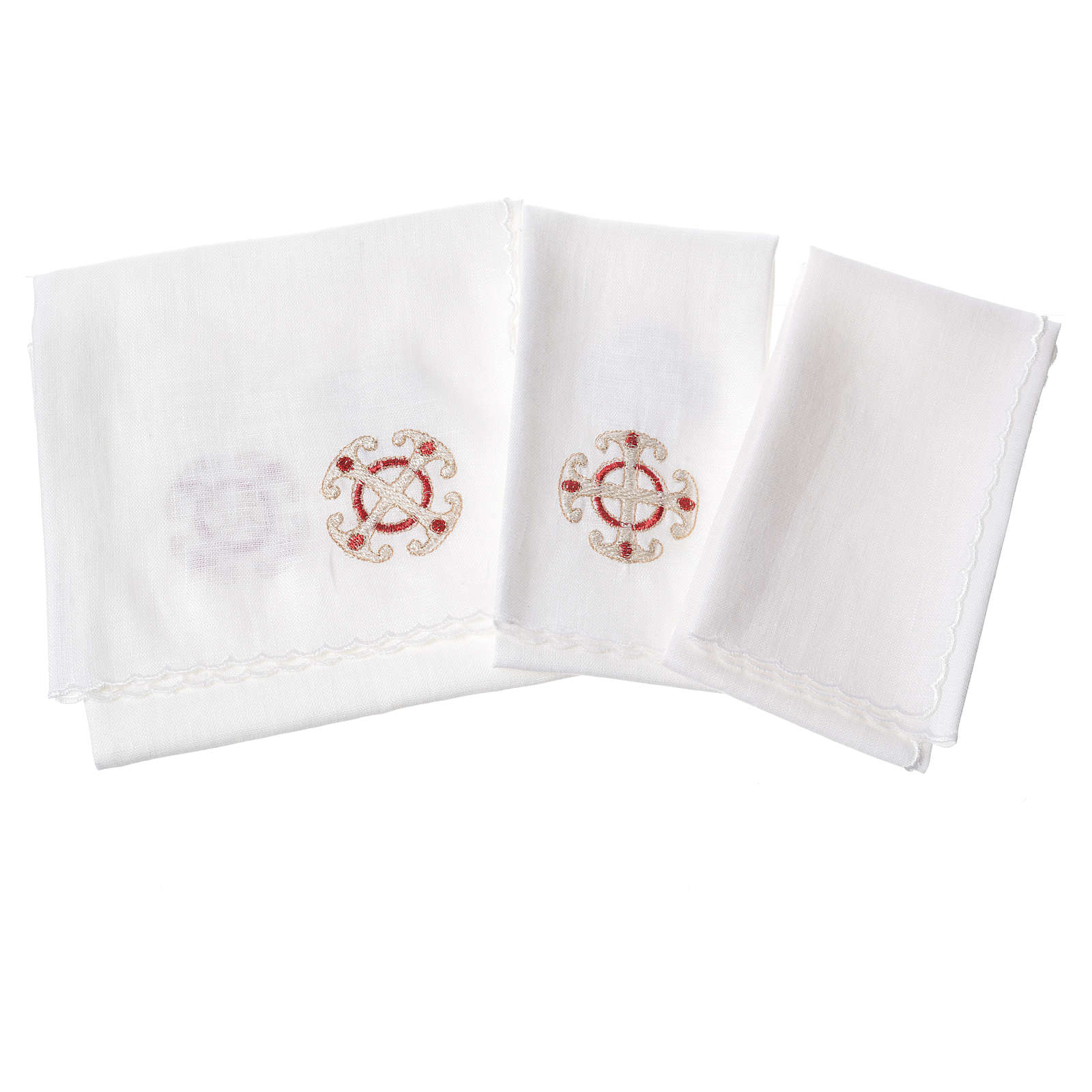 Altar linen set, 100% linen with cross and decorations 4