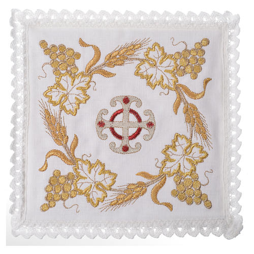 Altar linen set, 100% linen with cross and decorations 1