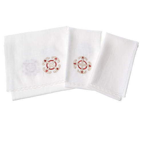 Altar linen set, 100% linen with cross and decorations 2