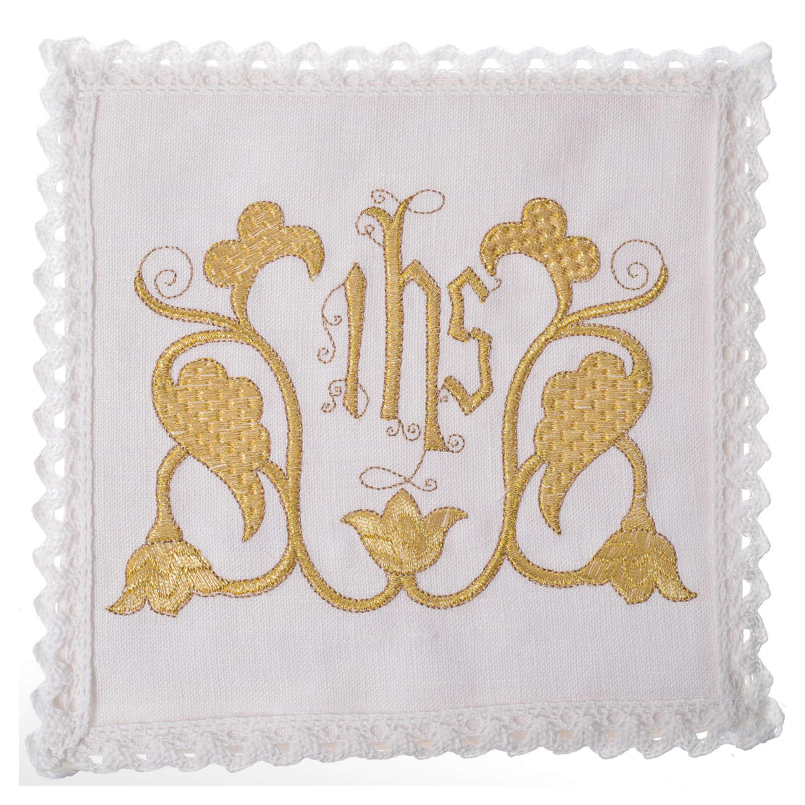 Set linge d'autel IHS et décoration 100% lin 4