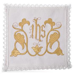 Set linge d'autel IHS et décoration 100% lin s1