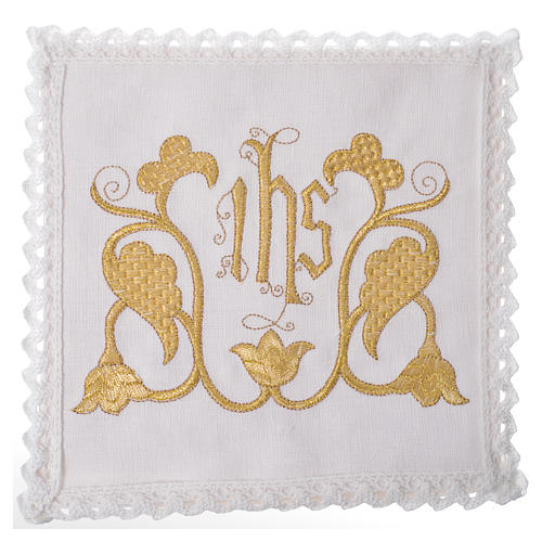 Set linge d'autel IHS et décoration 100% lin 1