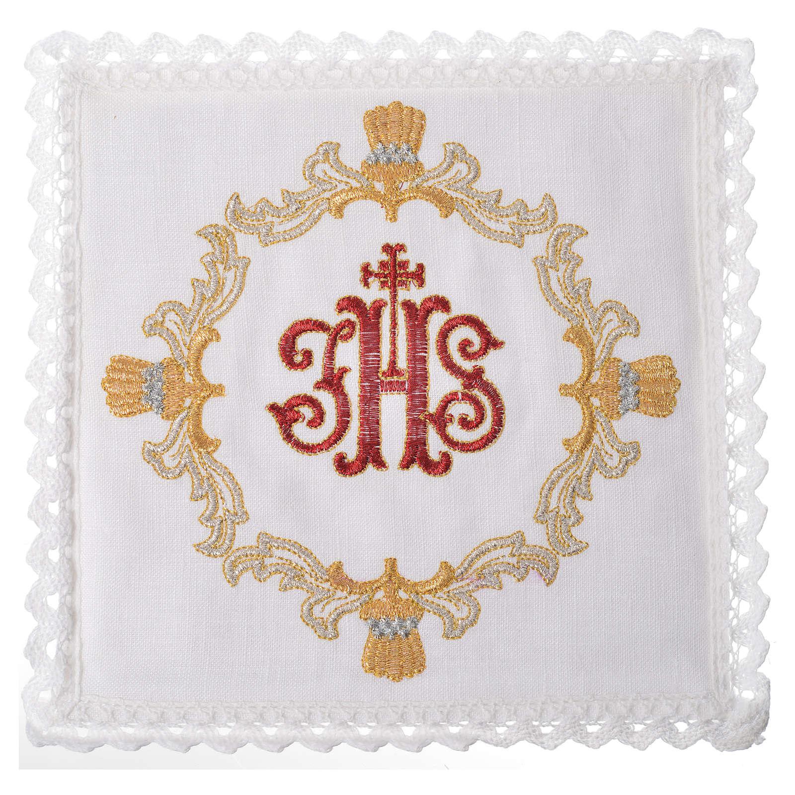 Set linge d'autel 100% lin IHS rouge et décoration 4