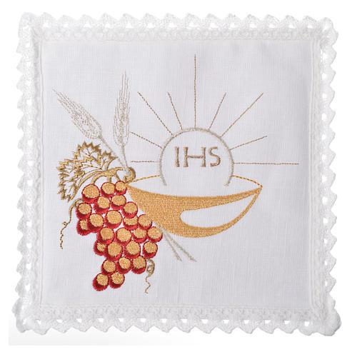 Service linge d'autel 100% lin Chi-Rho, patène et raisin 1