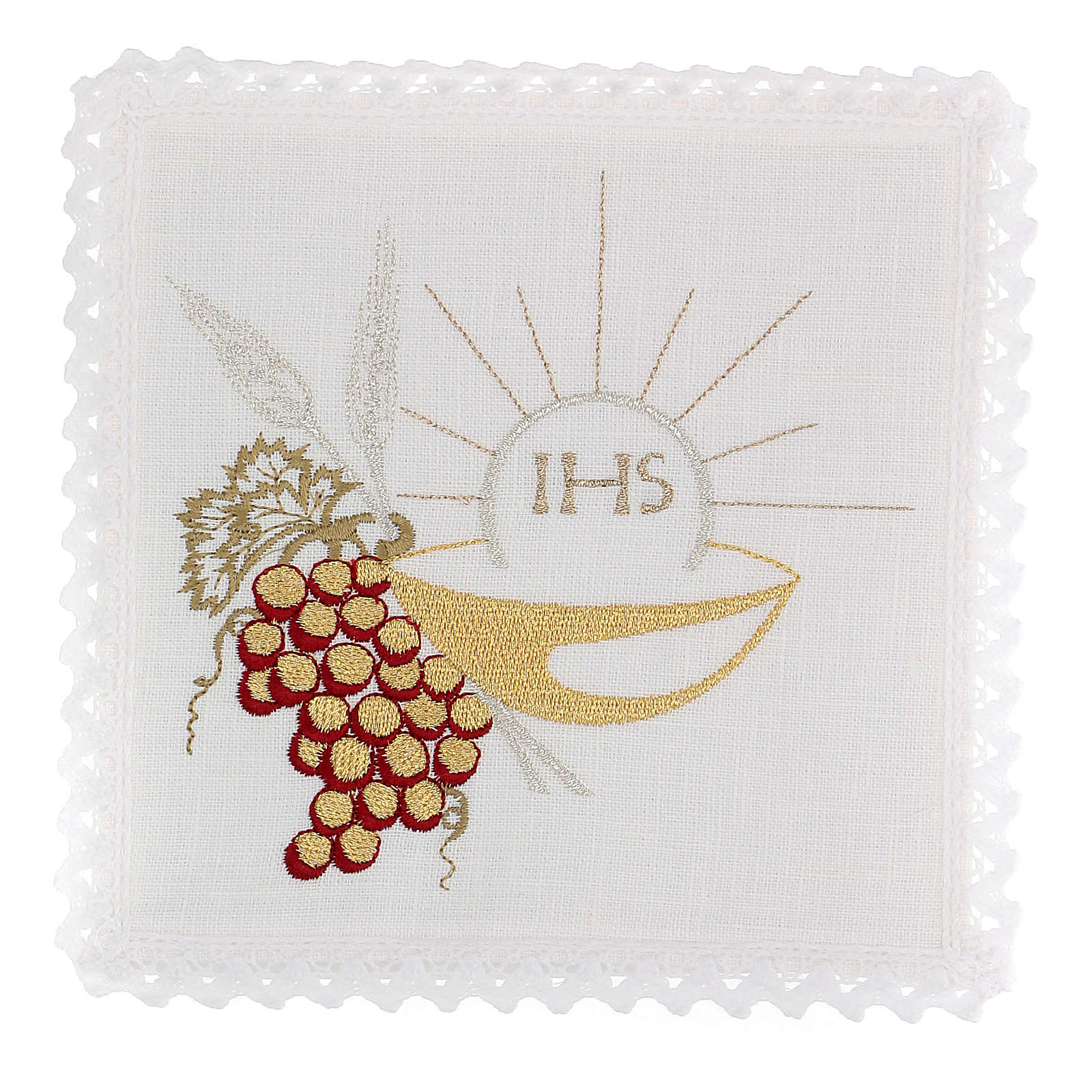 Altar linens set, 100% linen with IHS, paten and grapes 4