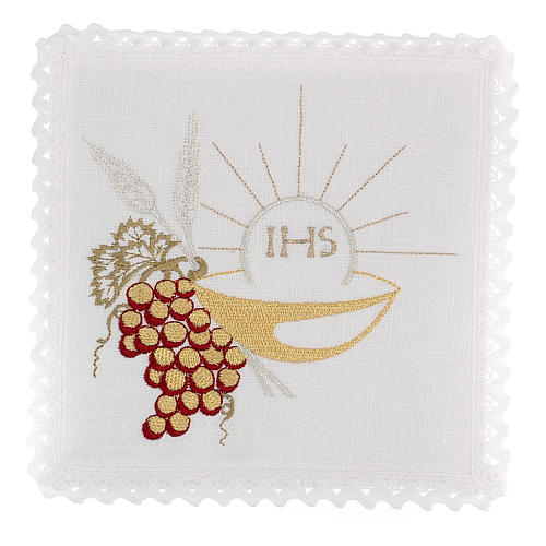 Altar linens set, 100% linen with IHS, paten and grapes 1