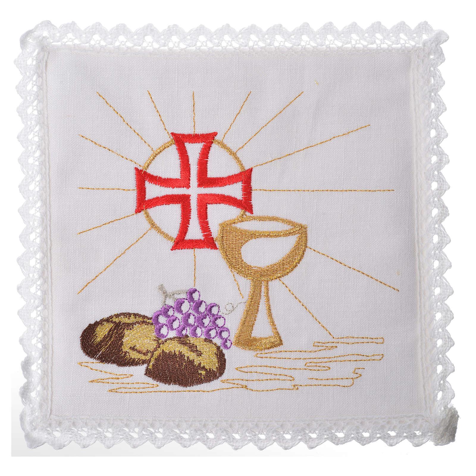 Servizio da messa 100% lino calice croce pane uva 4